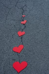 Red hearts on the street