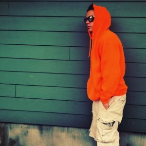 teenage boy orange hoodie